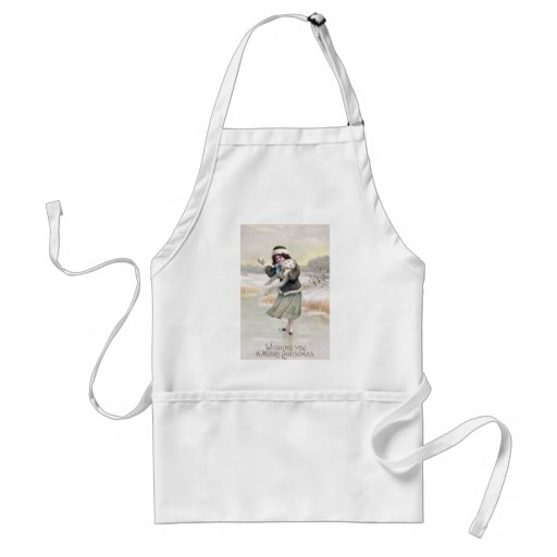 Old Fashioned Ice Skater Vintage Christmas Adult Apron