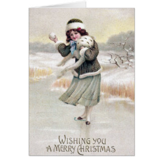 Old Fashioned Ice Skater Vintage Christmas Cards