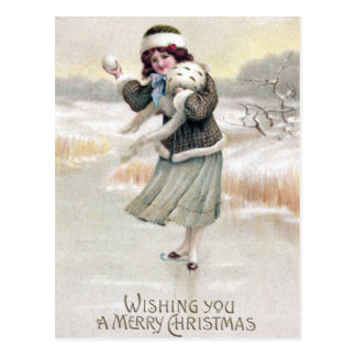 Old Fashioned Ice Skater Vintage Christmas Post Card