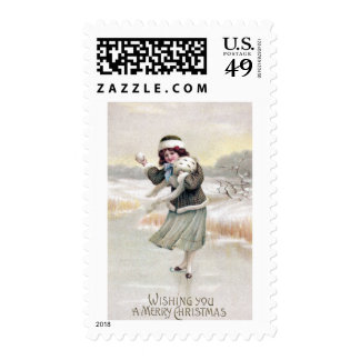 Old Fashioned Ice Skater Vintage Christmas Stamps