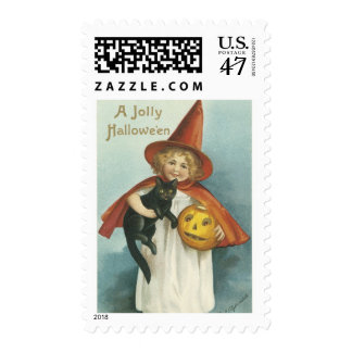 Old Fashioned Jolly Halloween Witch Postage
