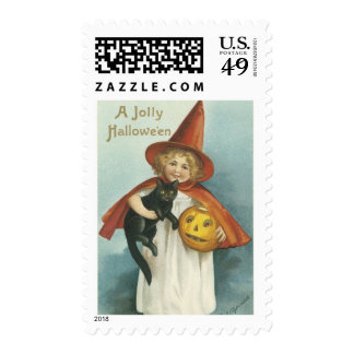 Old Fashioned Jolly Halloween Witch Stamps