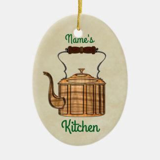 Old Fashioned Kitchen Copper Kettle OVAL Ceramic Ornament