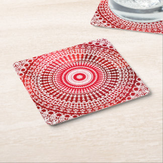 Old Fashioned Lace Doily on Red Square Paper Coaster