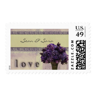Old fashioned lilac and pink flowers postage