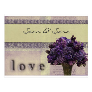 Old fashioned lilac and pink flowers postcard