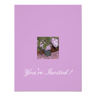 Old-Fashioned Lilacs,  You're Invited ! 4.25x5.5 Paper Invitation Card