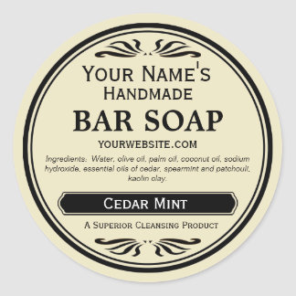 Old Fashioned Look Handmade Soap Labels Round Classic Round Sticker