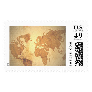 Old fashioned map of the world postage