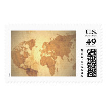 Old fashioned map of the world stamp