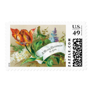 Old Fashioned Merry Christmas To You Flowers Postage Stamp