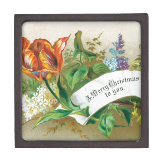 Old Fashioned  Merry Christmas To You Flowers Premium Keepsake Boxes