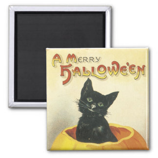 Old Fashioned Merry Halloween Cat Refrigerator Magnet