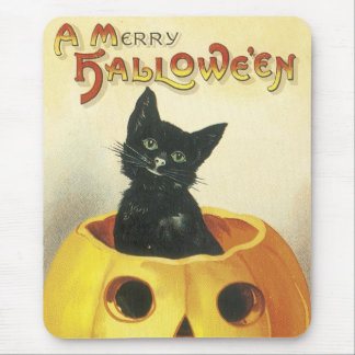 Old Fashioned Merry Halloween Cat Mouse Pad