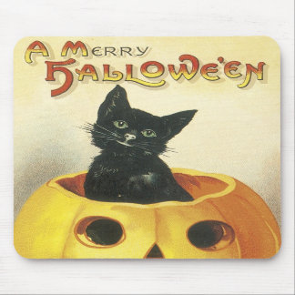 Old Fashioned Merry Halloween Cat Mousepad