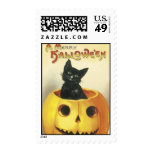 Old Fashioned Merry Halloween Cat Postage Stamp