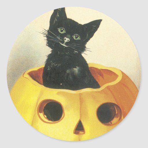 Old Fashioned Merry Halloween Cat Classic Round Sticker