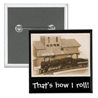 Old Fashioned Model Train Photo Pinback Button