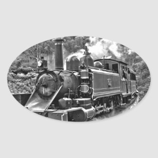 Old Fashioned Narrow Gauge Steam Train Oval Stickers