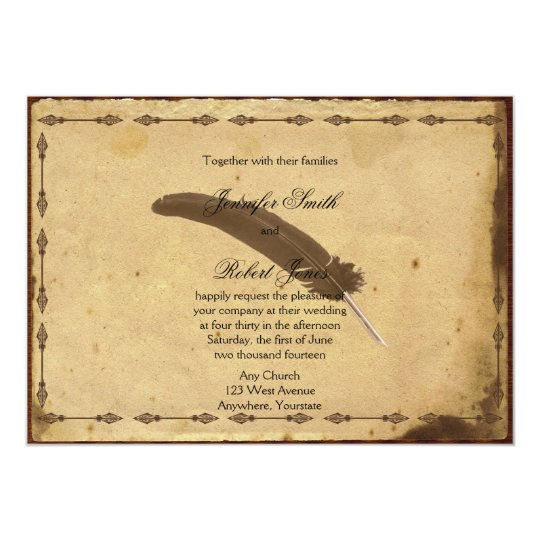 Wedding Invitations Old Fashioned: Old Fashioned Parchment Quill Wedding Invitation