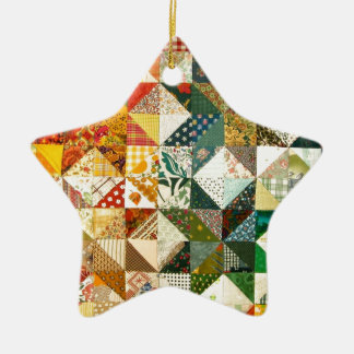 Old Fashioned Patchwork Quilt Double-Sided Star Ceramic Christmas Ornament