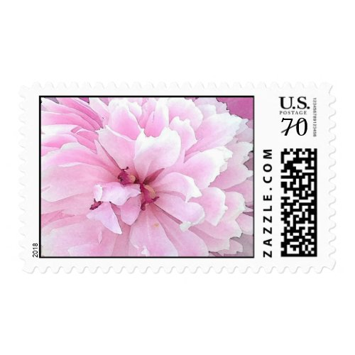Old fashioned peonies in watercolor postage