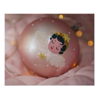 Old-fashioned pink christmas bauble poster