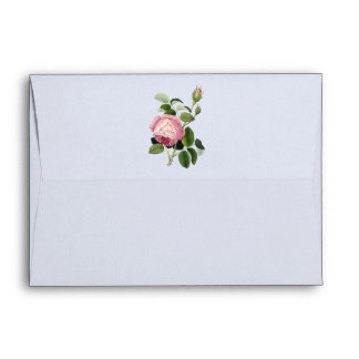 Old Fashioned Pink Rose Lacy Floral China Blue Envelope