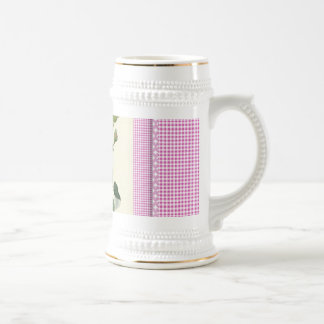 Old Fashioned Pink Rose Linen Gingham Decorative Beer Stein