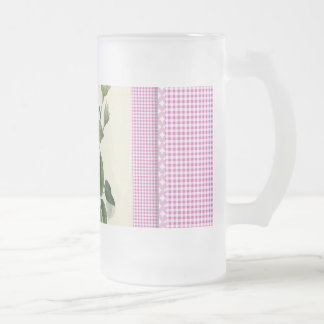 Old Fashioned Pink Rose Linen Gingham Decorative Frosted Glass Beer Mug