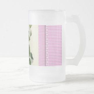 Old Fashioned Pink Rose Linen Gingham Decorative Frosted Glass Beer Mug
