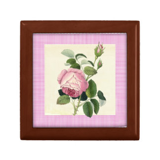 Old Fashioned Pink Rose Linen Gingham Decorative Gift Box