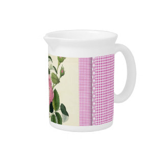 Old Fashioned Pink Rose Linen Gingham Decorative Pitcher