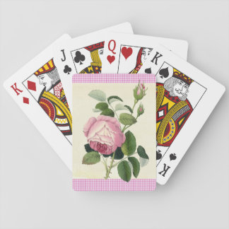Old Fashioned Pink Rose Linen Gingham Decorative Playing Cards