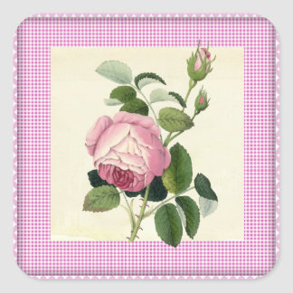 Old Fashioned Pink Rose Linen Gingham Decorative Square Sticker