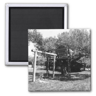 Old Fashioned Playground 2 Inch Square Magnet