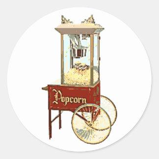 Old Fashioned Popcorn Machine Classic Round Sticker