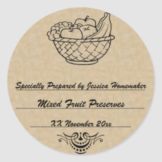 Old Fashioned Preserves or Jam Canning Template Classic Round Sticker