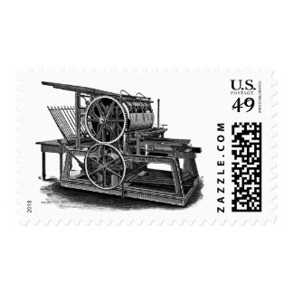Old Fashioned Printing Press Postage Stamps