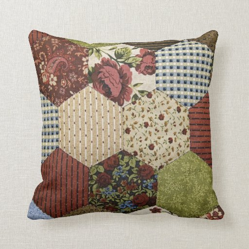 Should I Throw Away Old Pillows : Old-fashioned Quilt Design Throw Pillows Zazzle