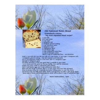 Old Fashioned Raisin Bread Recipe Postcard
