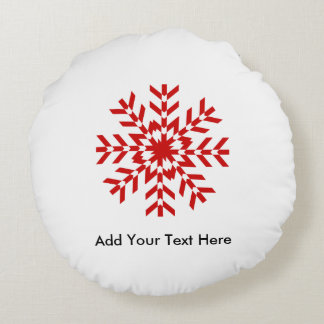 Old Fashioned Red and White Christmas Snowflake Round Pillow