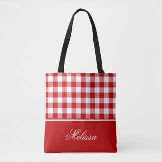 Old Fashioned Red and White Gingham   Personalized Tote Bag