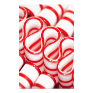 Old Fashioned Red and White Ribbon Candy Stationery Design