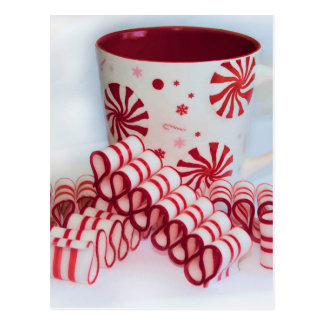Old Fashioned Red and White Ribbon Candy With Mug Postcard