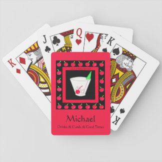 Old Fashioned Retro Drink Black Name Personalized Poker Cards