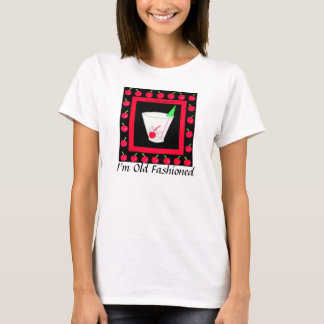 Old Fashioned Retro Drink Red Cherries on Black T-Shirt