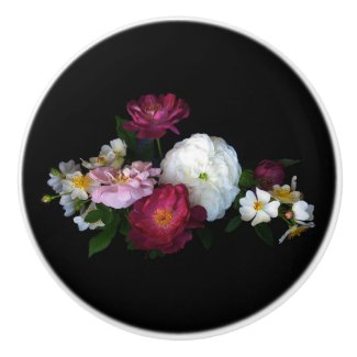 Old Fashioned Rose Flowers Ceramic Knob