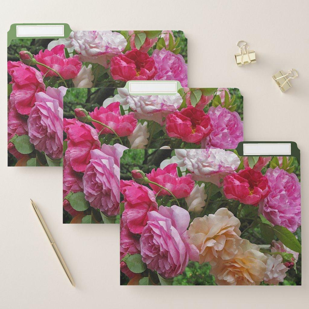Old Fashioned Rose Garden Flowers File Folder Set
