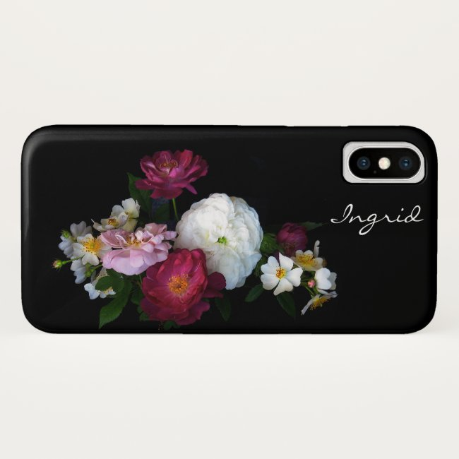 Old Fashioned Rose Garden Flowers iPhone X Case